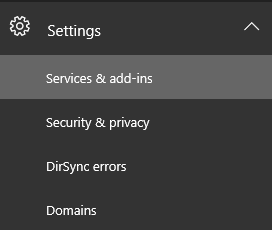Screenshot of the Settings section in the Office 365 admin center with Services & add-ins selected.