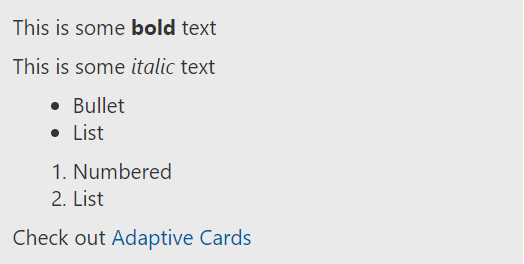 Text Features Adaptive Cards Microsoft Docs