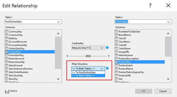 Bi-directional cross filters in Analysis Services tabular