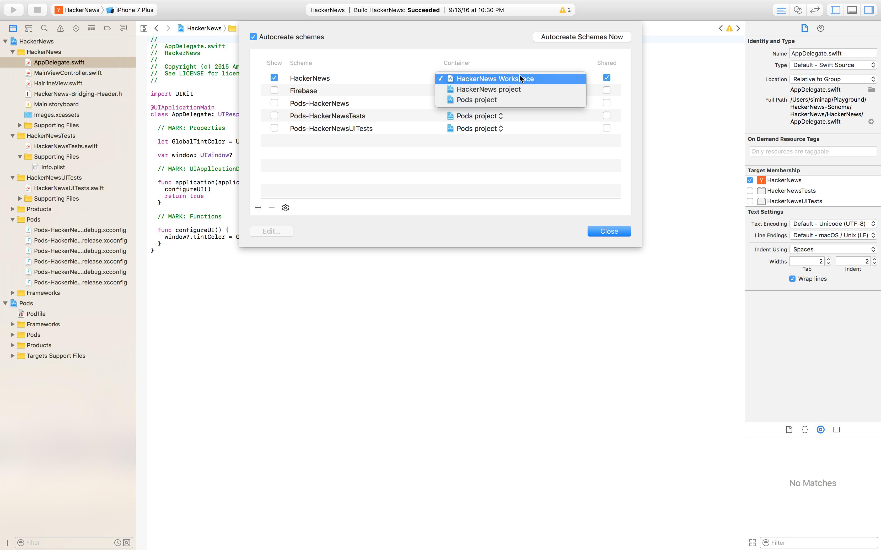 Configure a Objective-C or Swift Mac build - Visual Studio App