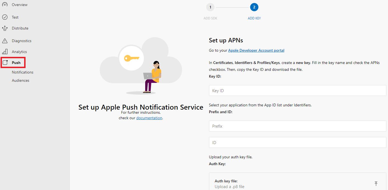App Center Push for Cordova iOS - Visual Studio App Center