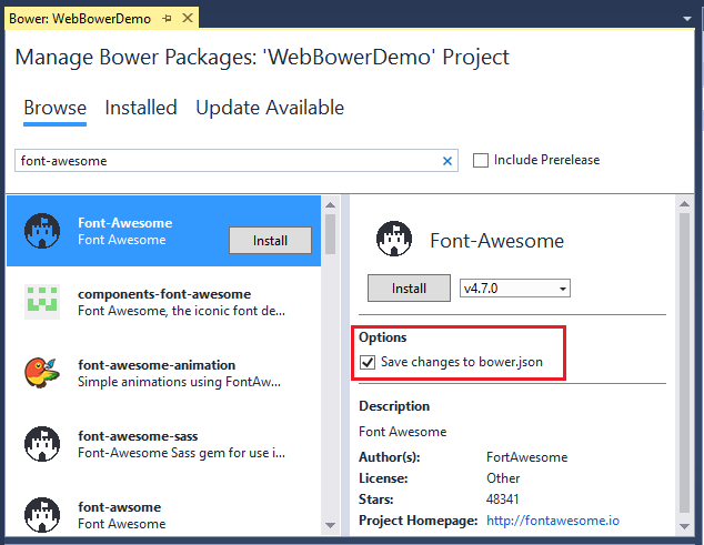 Manage client-side packages with Bower in ASP NET Core | Microsoft Docs