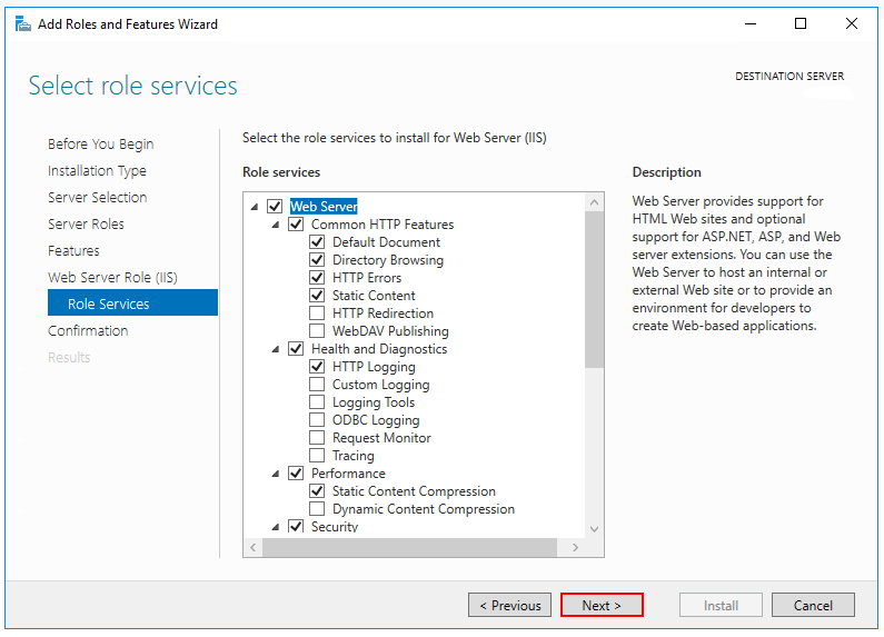 The default role services are selected in the Select role services step.