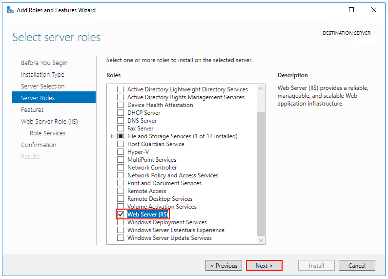 The Web Server IIS role is selected in the Select server roles step.