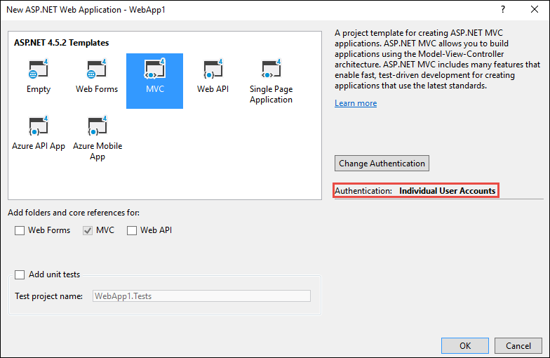 New Web Application dialog: MVC project template selected in ASP.NET templates panel