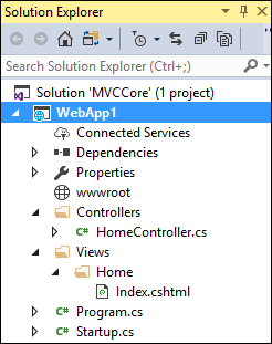 Solution Explorer showing files and folders of WebApp1