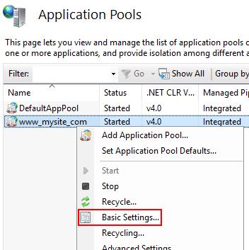 응용 프로그램 풀의 상황에 맞는 메뉴에서 기본 설정을 선택합니다.