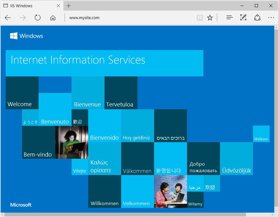 Microsoft Edge 브라우저가 IIS 시작 페이지를로드했습니다.