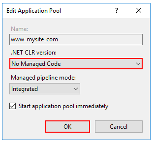 .NET CLR 버전에 대한 관리되는 코드 없음을 설정합니다.