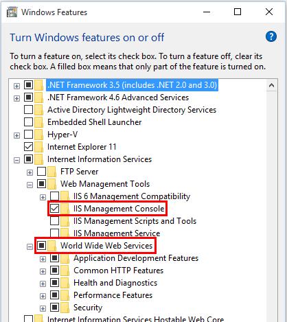IIS 관리 콘솔 및 World Wide Web 서비스는 Windows 기능에서 선택됩니다.