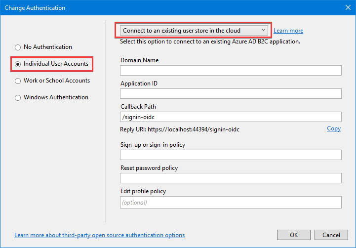 Cloud authentication with Azure Active Directory B2C in ASP NET Core