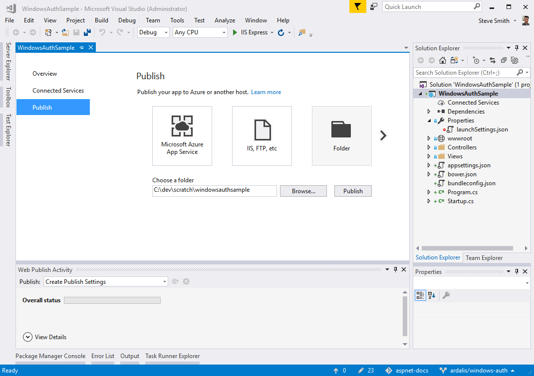 Visual Studio Publish Dialog