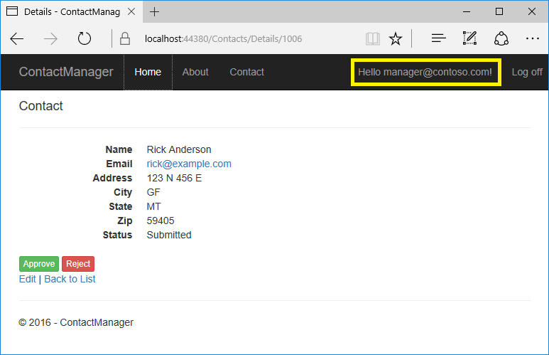 create an asp net core app with user data protected by authorization