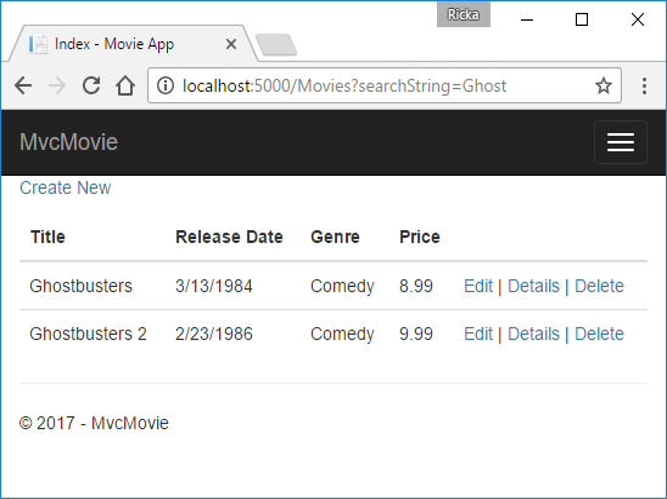 Add search to an ASP NET Core MVC app | Microsoft Docs