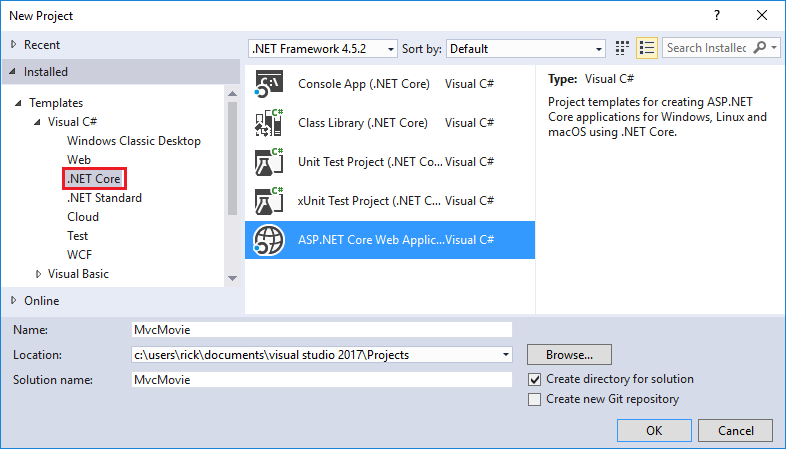Getting started with asp core mvc and visual studio new project dialog core in left pane asp core web ccuart Gallery