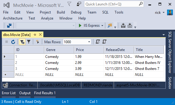 Work with SQL in an ASP NET Core MVC app   Microsoft Docs