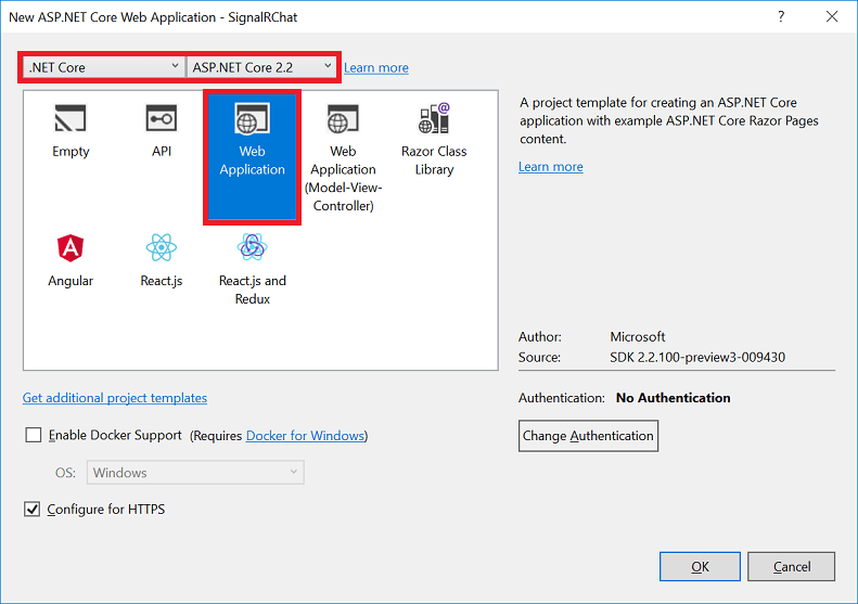 Get started with ASP NET Core SignalR | Microsoft Docs