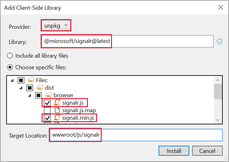 Add Client-Side Library dialog - select library