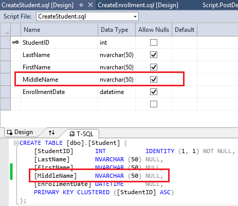 Error before updating scaffolding from new db schema try creating