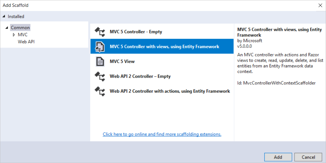 Tutorial: Get Started with Entity Framework 6 Code First using MVC 5