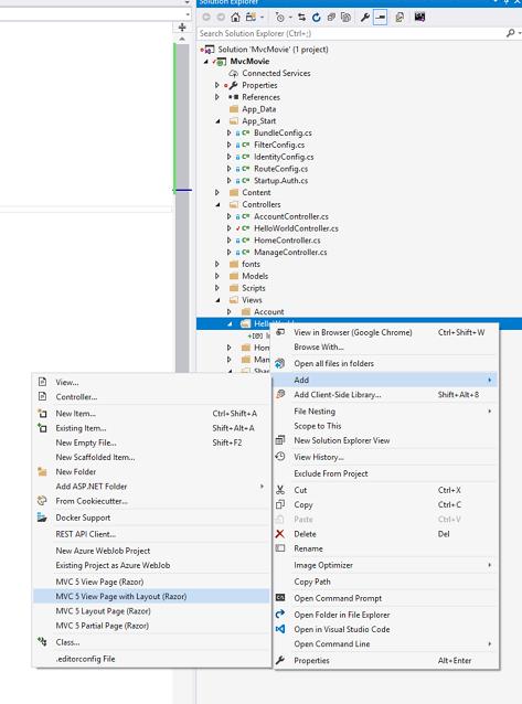 Adding a View to an MVC app | Microsoft Docs