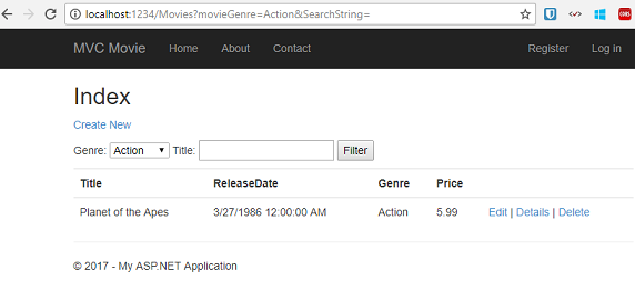 In this section you created a search action method and view that let users search by movie title and genre. In the next section, you'll look at how to add a ...