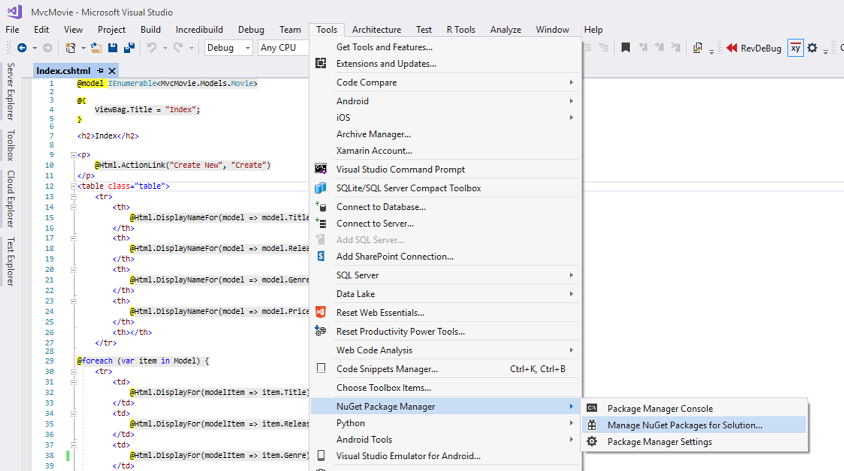 From the Tools menu click NuGetLibrary Package Manager, and then click  Manage NuGet Packages for Solution.