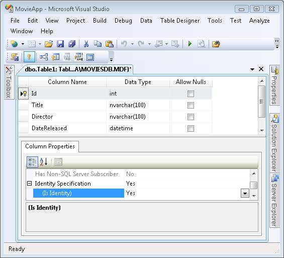 Create a movie database application in 15 minutes with asp for Table design in mvc 4