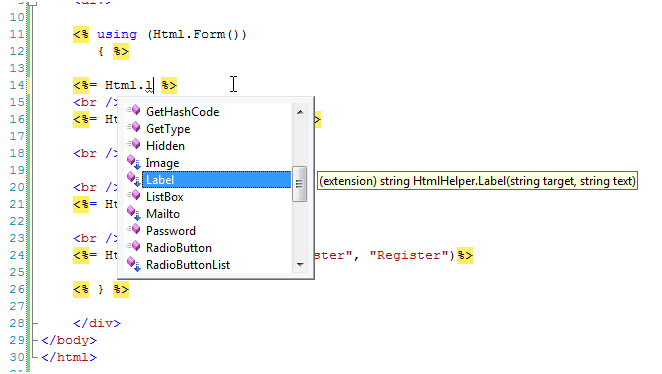 Write custom html helper