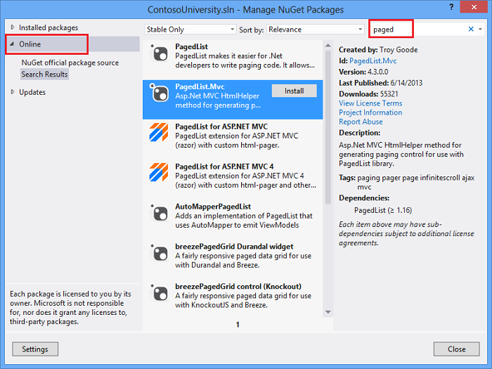 Sorting, Filtering, and Paging with the Entity Framework in