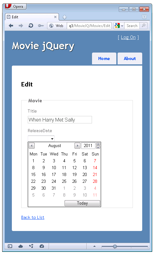 Using the html5 and jquery ui datepicker popup calendar for Table design in mvc 4