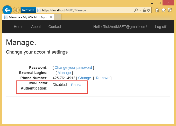 ASP NET MVC 5 app with SMS and email Two-Factor Authentication