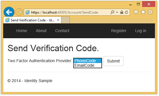 ASP NET MVC 5 app with SMS and email Two-Factor