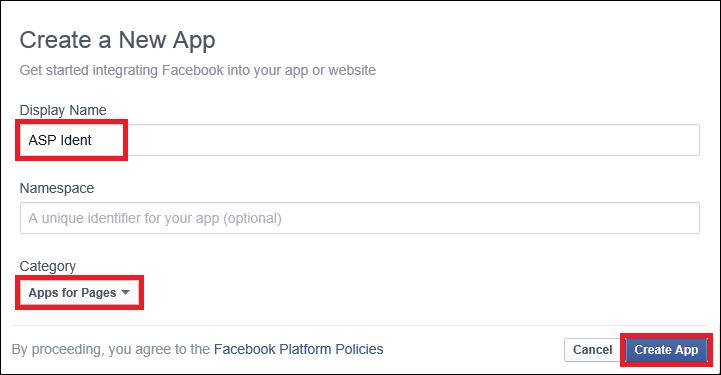 Create New App dialog