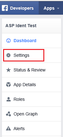 Facebook Developer's menu bar