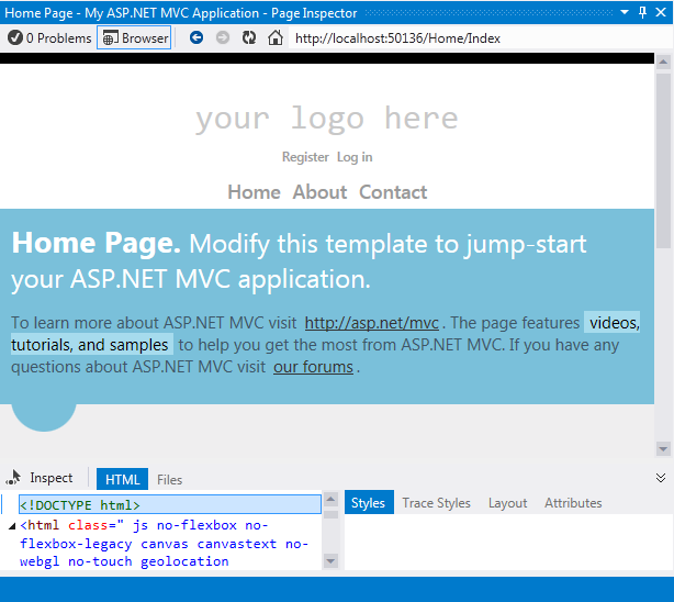 Using Page Inspector in ASP NET MVC | Microsoft Docs