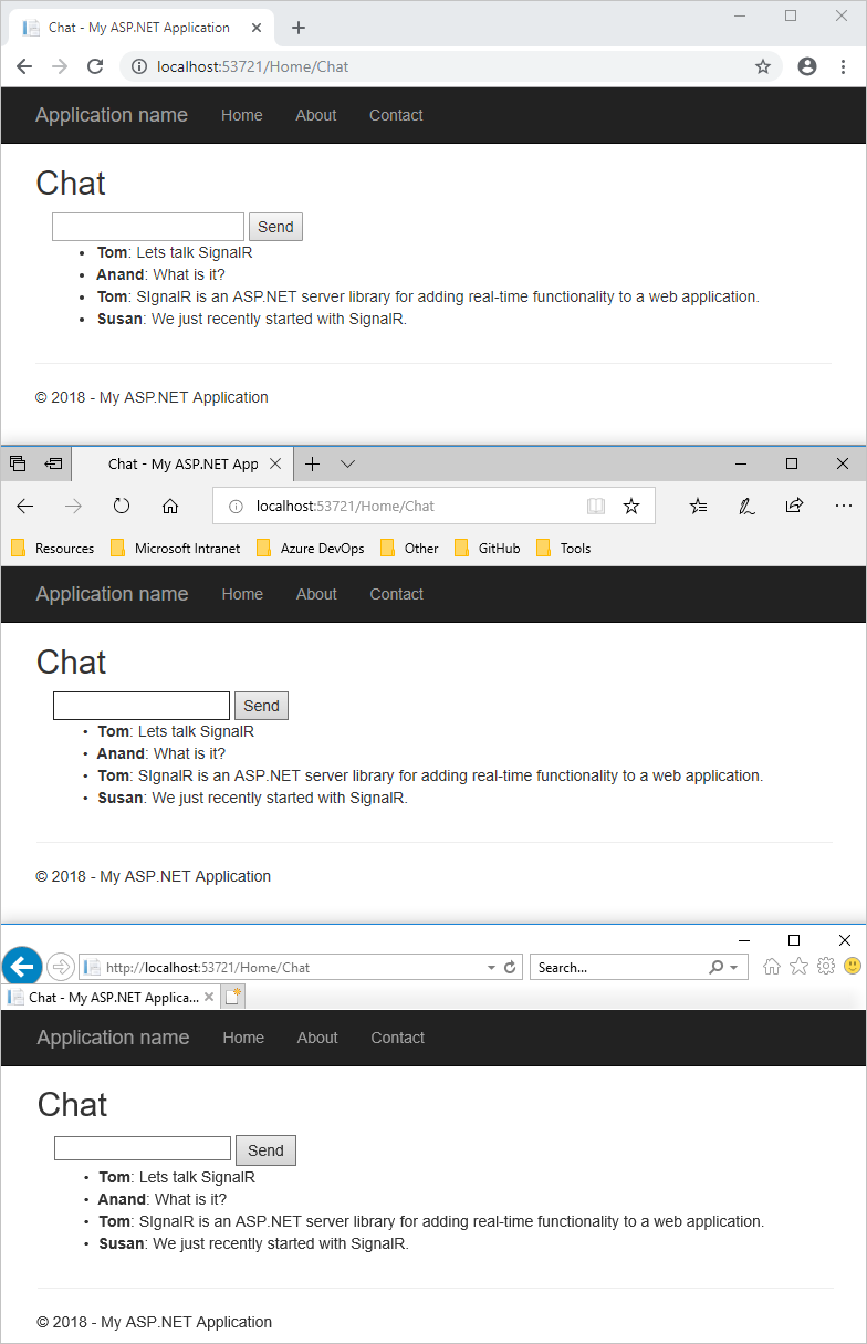 Tutorial: Real-time chat with SignalR 2 and MVC 5