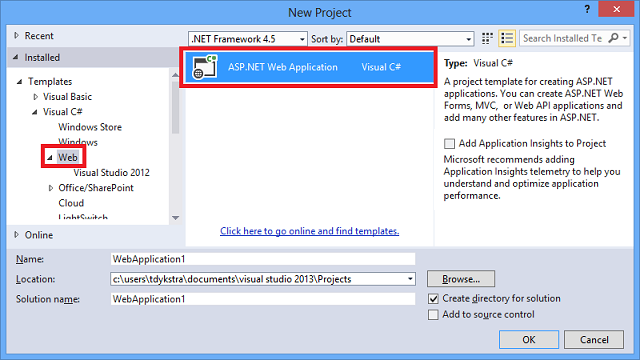 Creating asp web projects in visual studio 2013 microsoft docs new project dialog maxwellsz