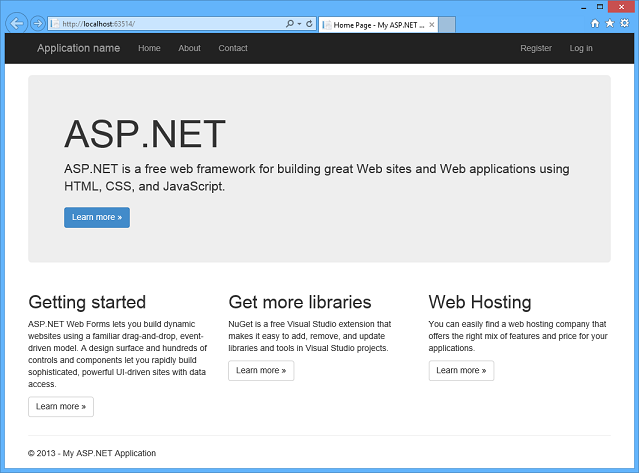 Creating asp web projects in visual studio 2013 microsoft docs web forms template app home page pronofoot35fo Gallery
