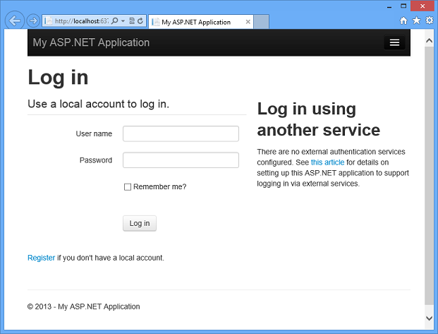 Creating asp web projects in visual studio 2013 microsoft docs spa sample application pronofoot35fo Gallery