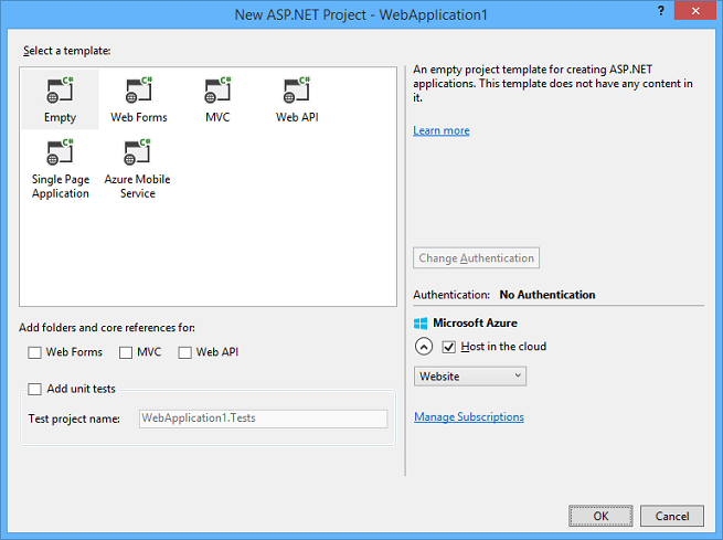 Creating ASP.NET Web Projects in Visual Studio 2013 | Microsoft Docs
