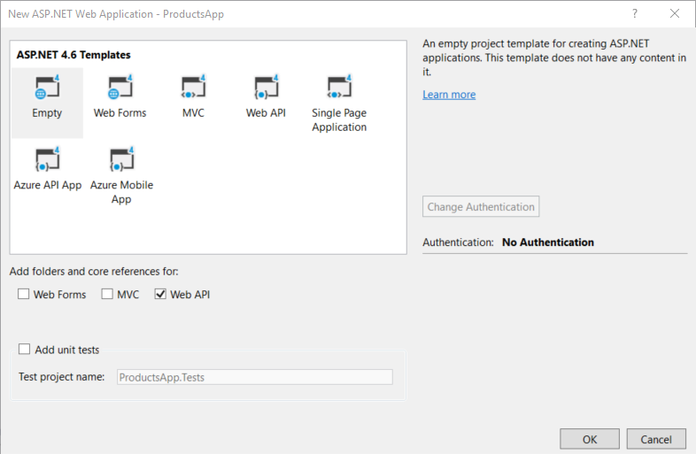 net project dialog select the empty template under add folders and core references for check web api click ok