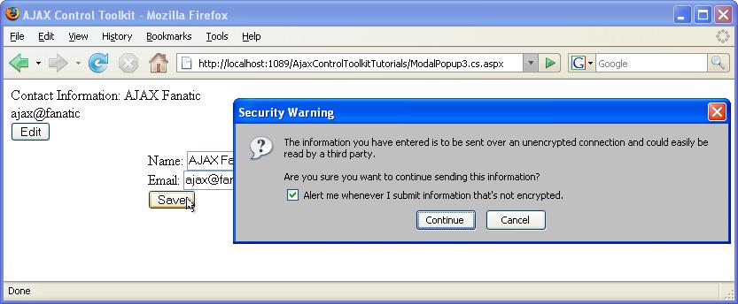 Handling Postbacks from a ModalPopup (C#) | Microsoft Docs