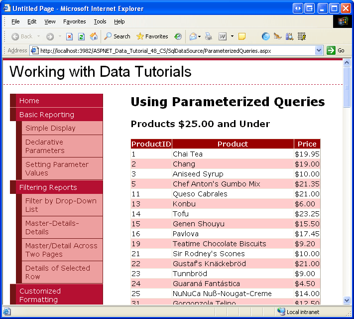 Using Parameterized Queries With The SqlDataSource (C