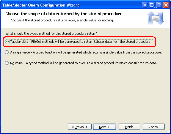 Using Existing Stored Procedures for the Typed DataSet's