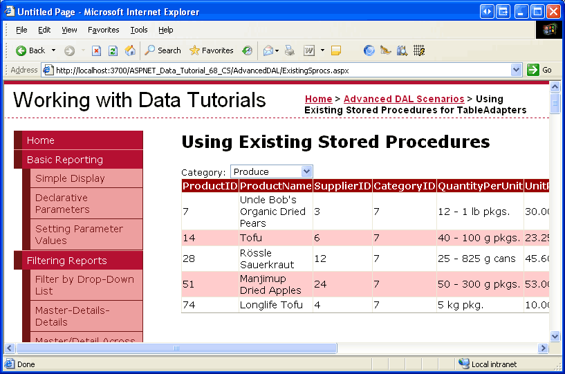 using existing stored procedures for the typed dataset s