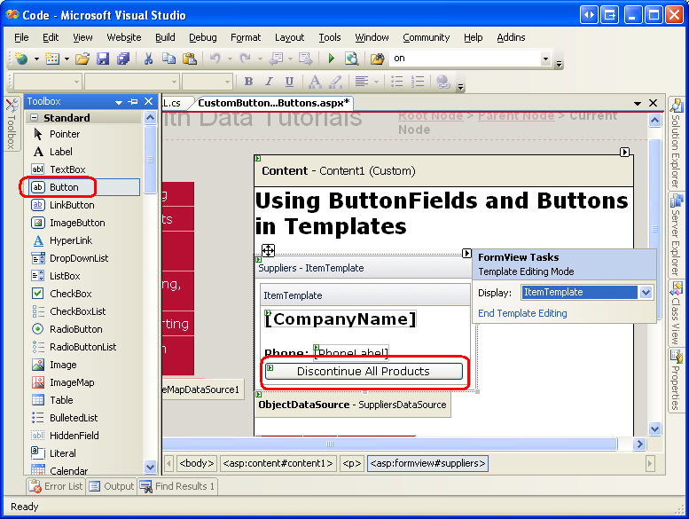 Adding and Responding to Buttons to a GridView (C#) | Microsoft Docs