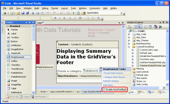 Displaying Summary Information in the GridView's Footer (C