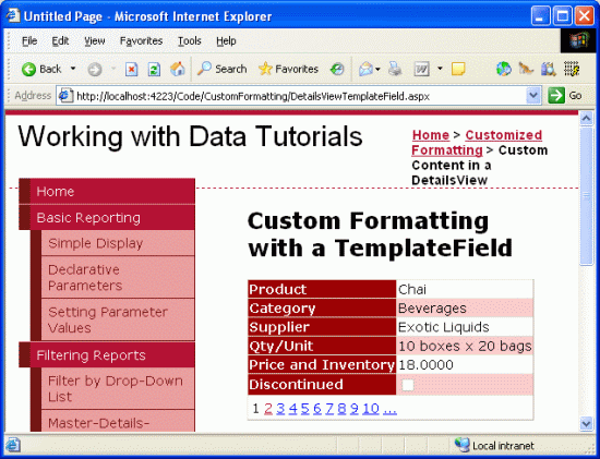 Using TemplateFields in the DetailsView Control (C#) | Microsoft Docs