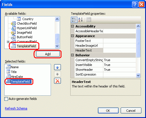 Using TemplateFields in the GridView Control (C